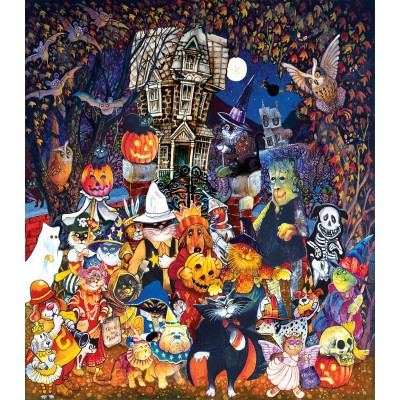 SunsOut - 500 pieces - XXL Pieces - Cats and Dogs on Halloween