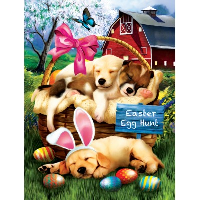 SunsOut - 300 pieces - XXL Pieces - Tom Wood - Sleepy Eyed Easter Egg Hunters