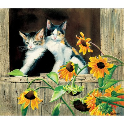 SunsOut - 550 pieces - Susan Bourdet - Kittens and Sunflowers