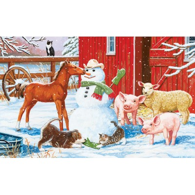 SunsOut - 300 pieces - XXL Pieces - Winter Barnyard Scene