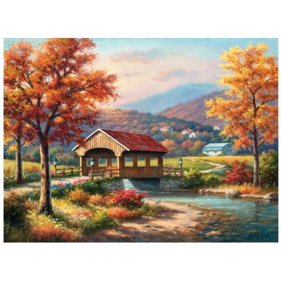 SunsOut - 1000 pieces - Sung Kim - Fall at the Covered Bridge