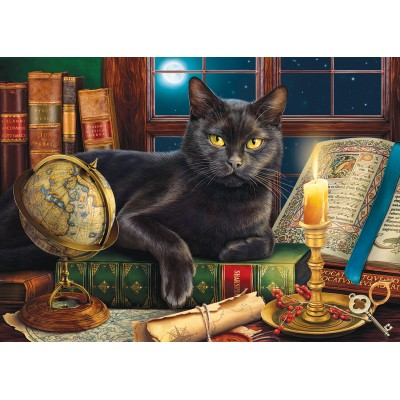 SunsOut - 500 pieces - XXL Pieces - Black Cat by Candlelight