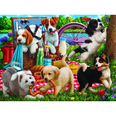 Bluebird-Puzzle - 500 Teile - Puppies on a Picnic