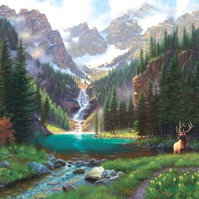 SunsOut - 1000 pieces - Mark Keathley - Elk at the Waterfall