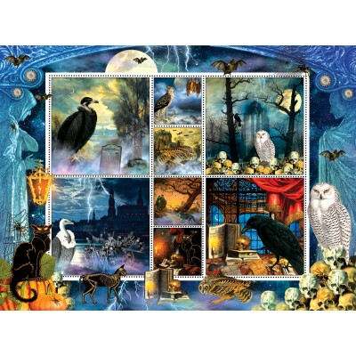 SunsOut - 1000 pieces - Finchley Paper Arts - Halloween Stamps Spooky