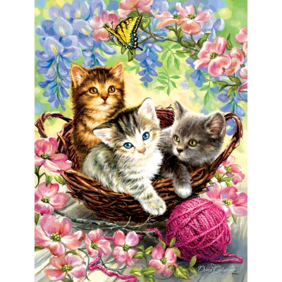 SunsOut - 500 pieces - Dona Gelsinger - Kittens and Flowers