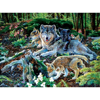 SunsOut - 500 pieces - Jan Martin Mcguire - Forest Wolf Family