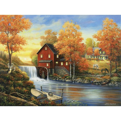 SunsOut - 500 pieces - John Zaccheo - Sunset at the Old Mill