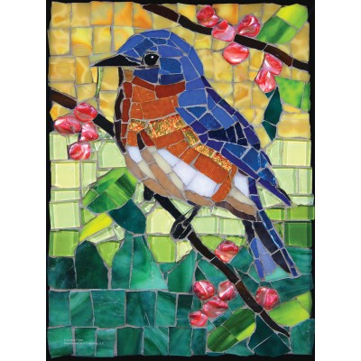 SunsOut - 1000 pieces - Cynthie Fisher - Stained Glass Bluebird