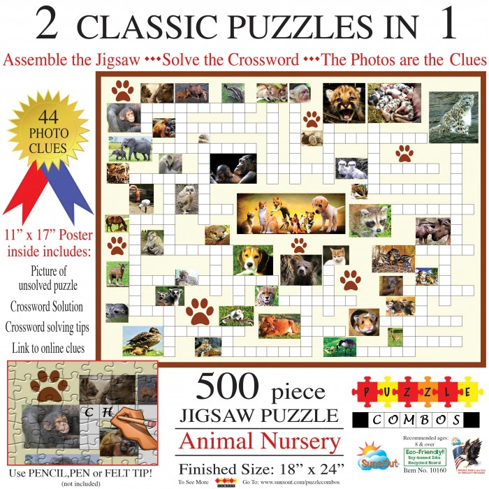 Sunsout-10160 Irv Brechner - Puzzle Combo: Animal Nursery