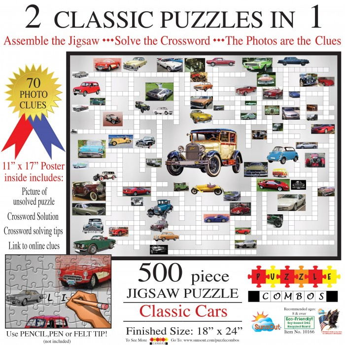 Sunsout-10166 Irv Brechner - Puzzle Combo: Classic Cars