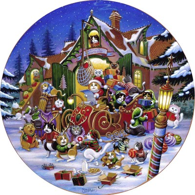 Puzzle  Sunsout-15534 XXL Pieces - Here Comes Santa Paws Road