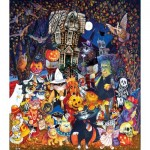 Puzzle  Sunsout-21893 XXL Pieces - Cats and Dogs on Halloween