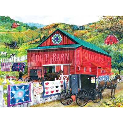 Puzzle  Sunsout-28785 Tom Wood - Stopping at the Quilt Barn