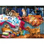 Puzzle  Sunsout-28874 Tom Wood - Quilting Room Mischief