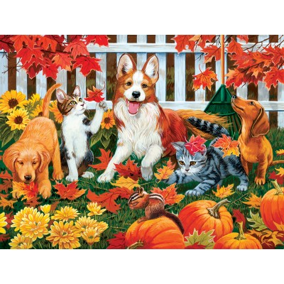 Puzzle  Sunsout-30421 William Vanderdasson - Collecting Fall Leaves