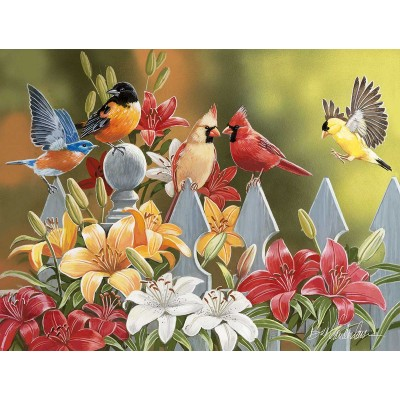 Puzzle  Sunsout-30479 XXL Pieces - William Vanderdasson - Birds on a Fence