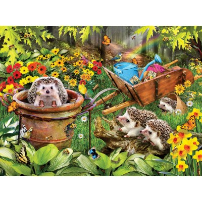 Puzzle  Sunsout-35057 Lori Schory - Hedgehogs and Bees