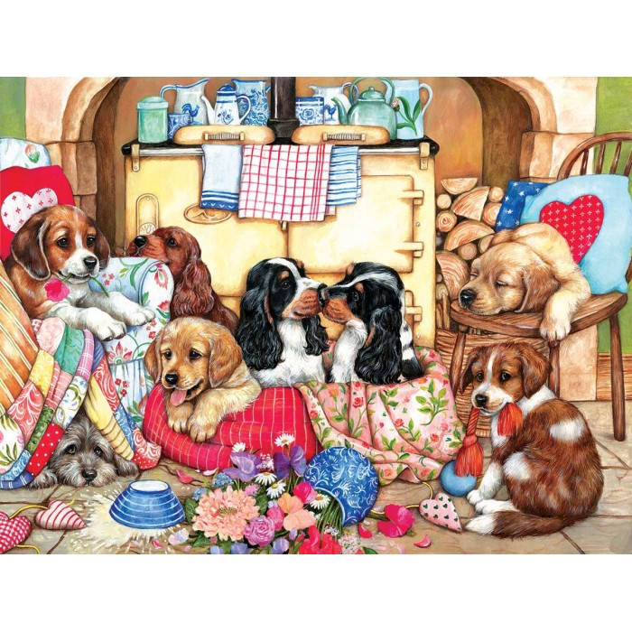 Puzzle Sunsout-36456 XXL Pieces - Puppies in the Kitchen