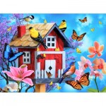 Puzzle  Sunsout-49044 Jerry Gadamus - Red Birdhouse