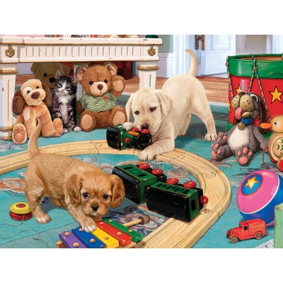 Puzzle  Sunsout-60905 XXL Pieces - Steve Read - Puppies Playtime