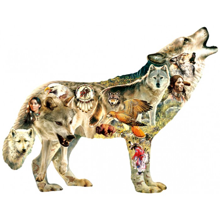 Puzzle Sunsout-96049 Greg Giordano - Native American Wolf